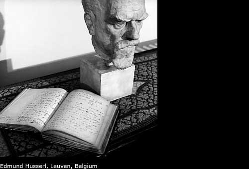 Portrait and manuscript of Edmund Husserl, Leuven, Belgium